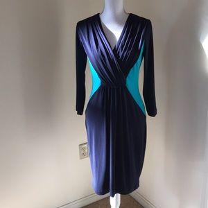 Calvin Klein Size 4, Navy /teal pleated dress